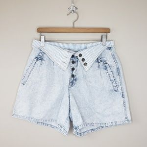 Vintage Express | Foldover Waist Jean Shorts